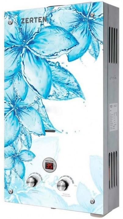 ВПГ Зертен GLASS D-20 кВт (голубые цветы на белом фоне)